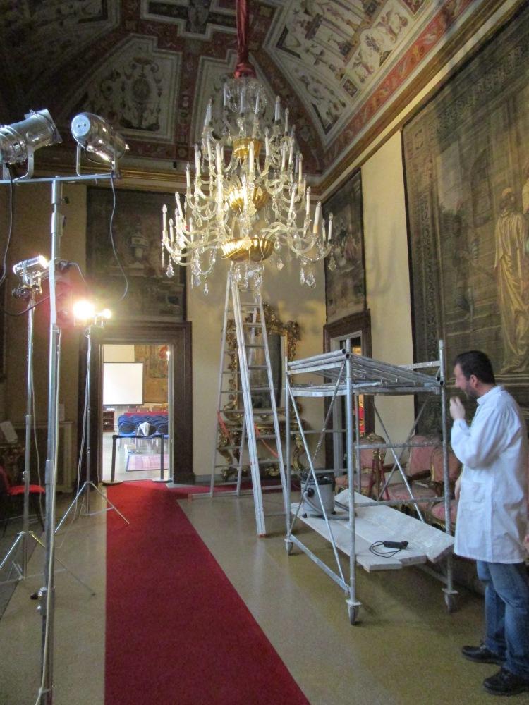 Restauro lampadari, Palazzo Medici Riccardi